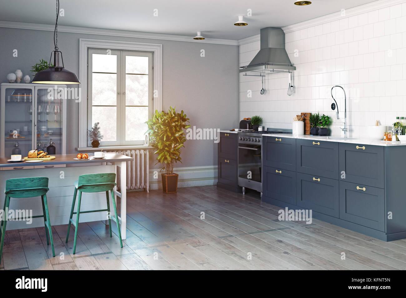 Cucina moderna con interni. uno stile scandinavo. 3D rendering concept Immagini Stock