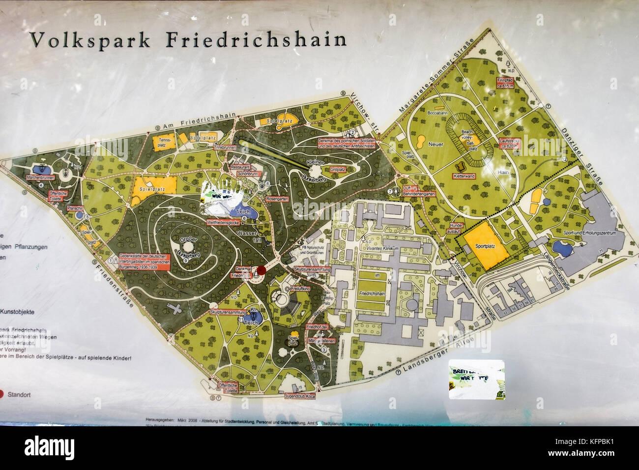 Berlin volkspark priedrichshain, parco pubblico. vecchio mappa che mostra la disposizione dei park Immagini Stock
