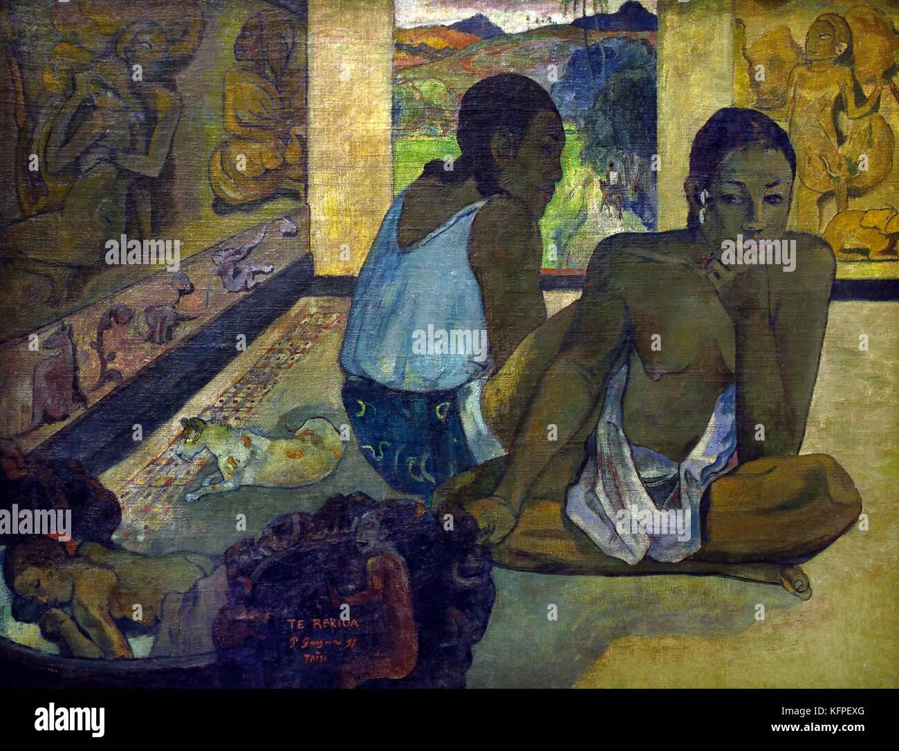 Te Rerioa (Le Reve) - Te Rerioa (sogno) 1897Paul Gauguin - Eugène Henri Paul Gauguin 1848 - 1903 era un francese Immagini Stock