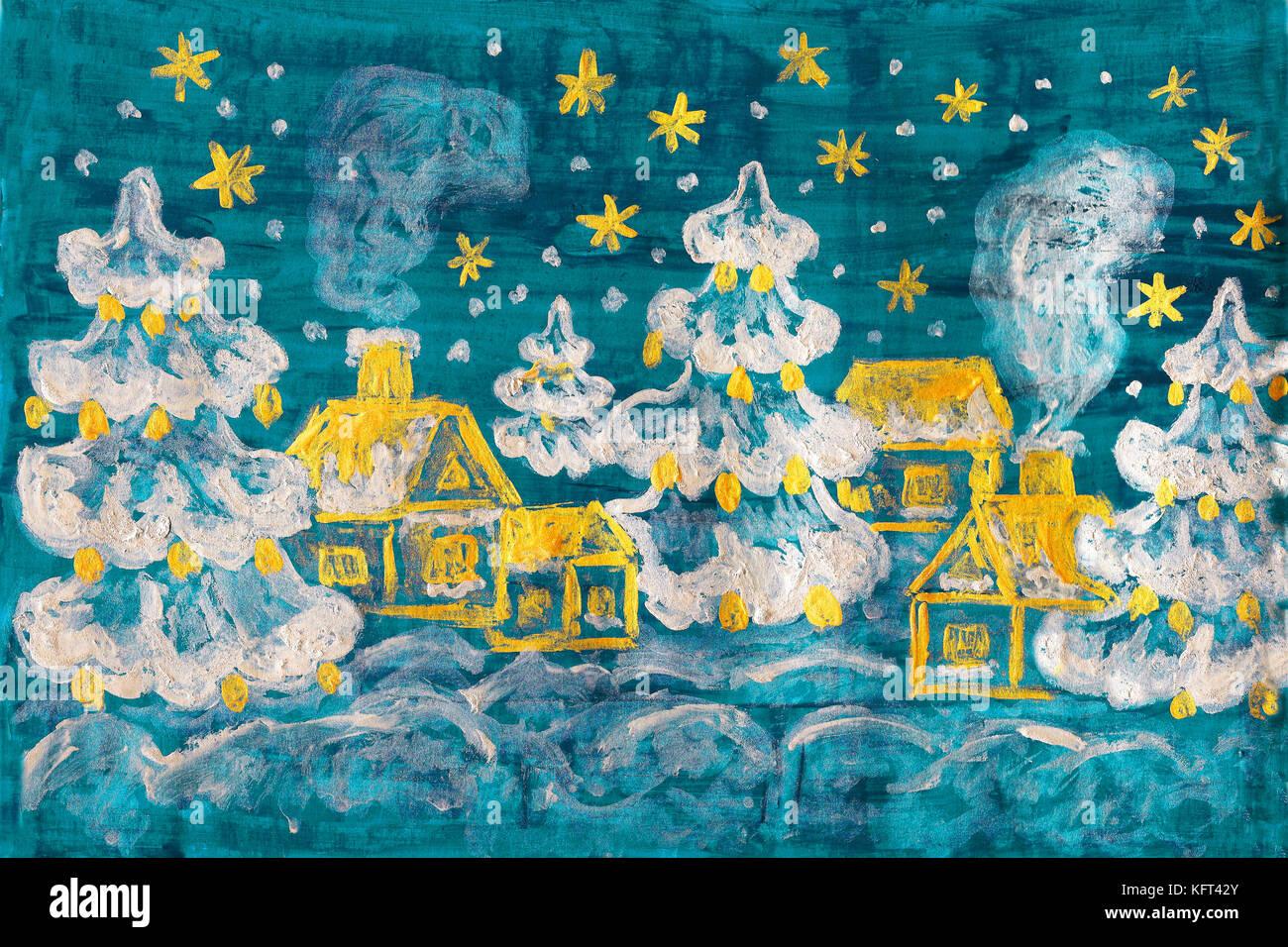 Immagine invernale, pittura Immagini Stock