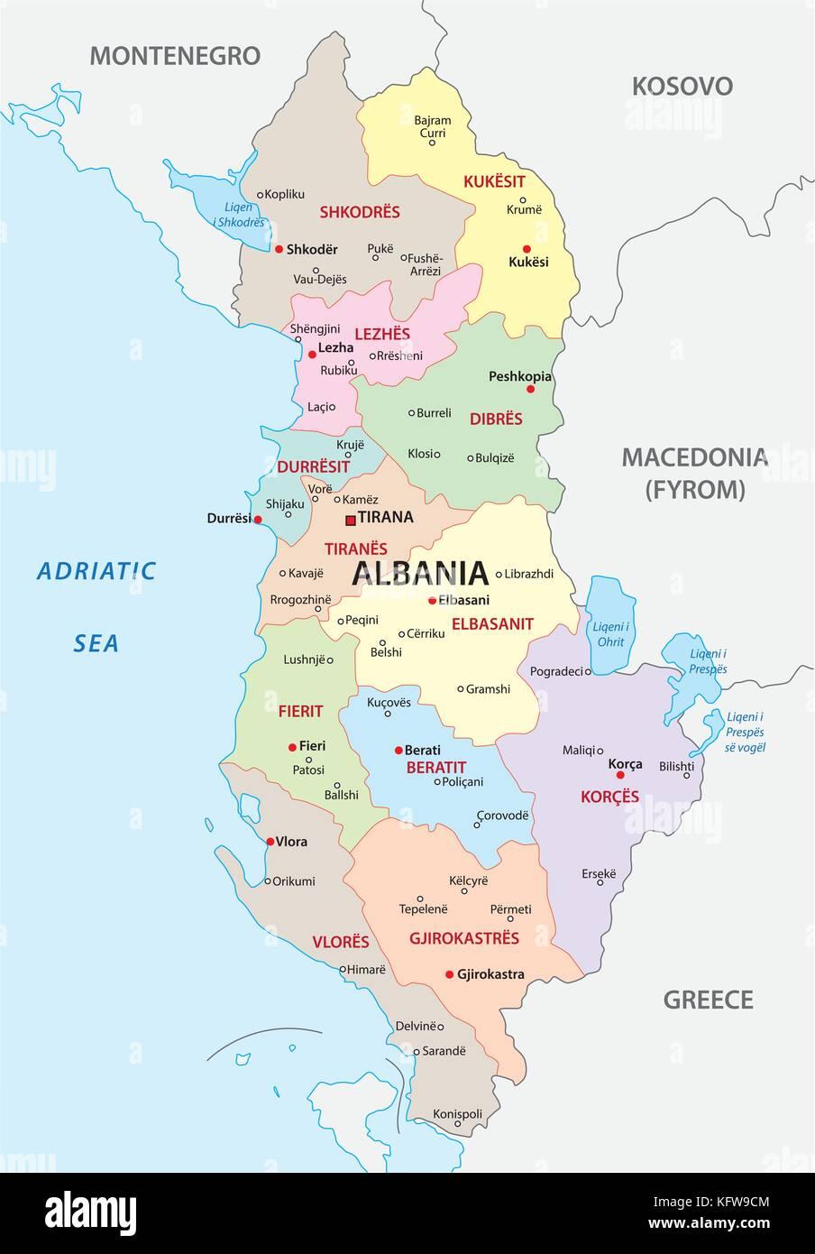 Cartina Di Albania.L Albania Politica E Amministrativa Di Mappa Vettoriale