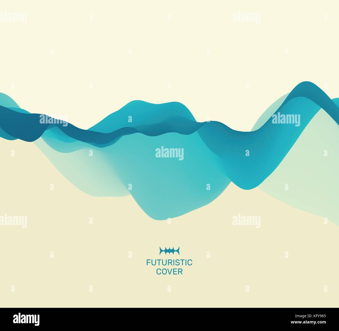 Abstract sfondo con onde. effetto dinamico. 3d illustrazione vettoriale. Design modello. Immagini Stock