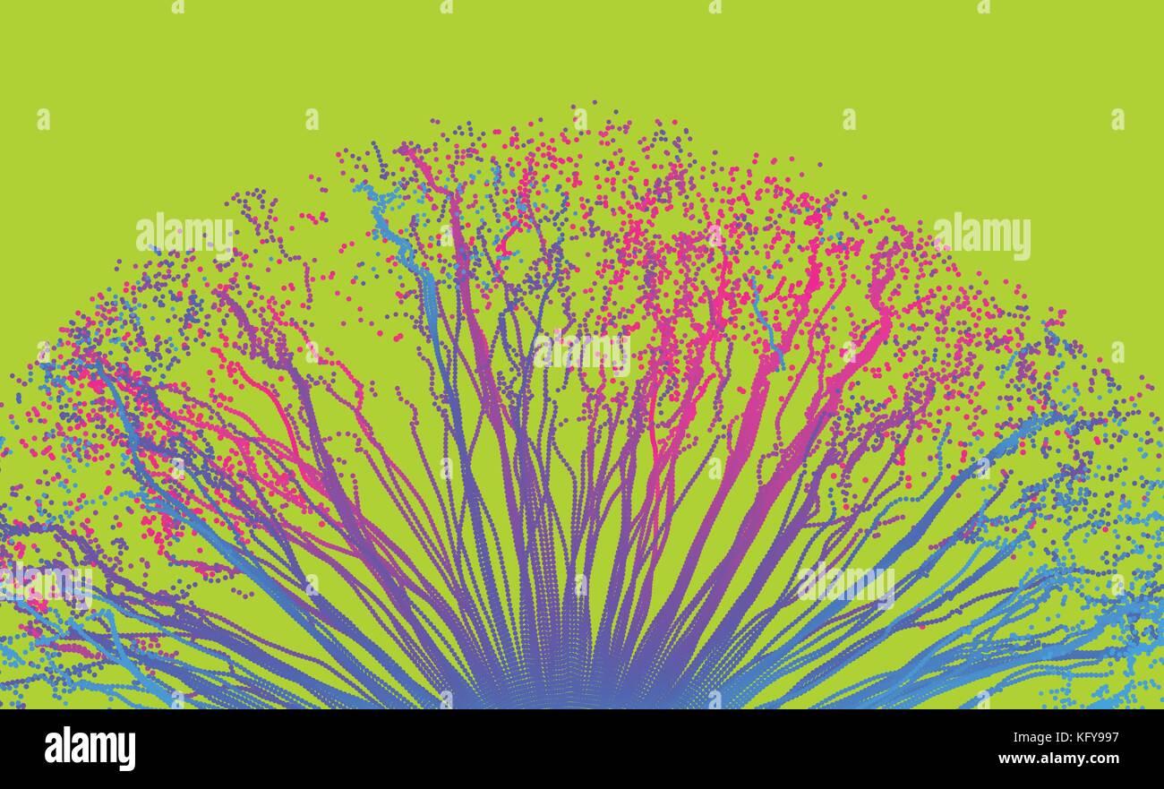 Punto esplodere. array con dynamic particelle emesse. La tecnologia 3d stile sfondo astratto. illustrazione vettoriale. Illustrazione Vettoriale