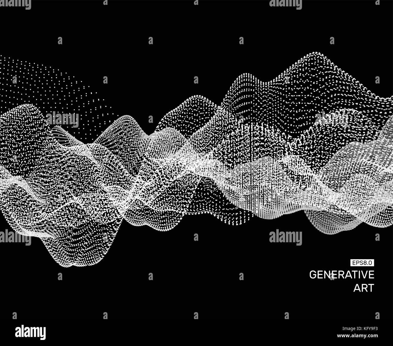 Array con particelle dinamica. sfondo ondulate. composizione con effetto di movimento abstract illustrazione vettoriale. Immagini Stock