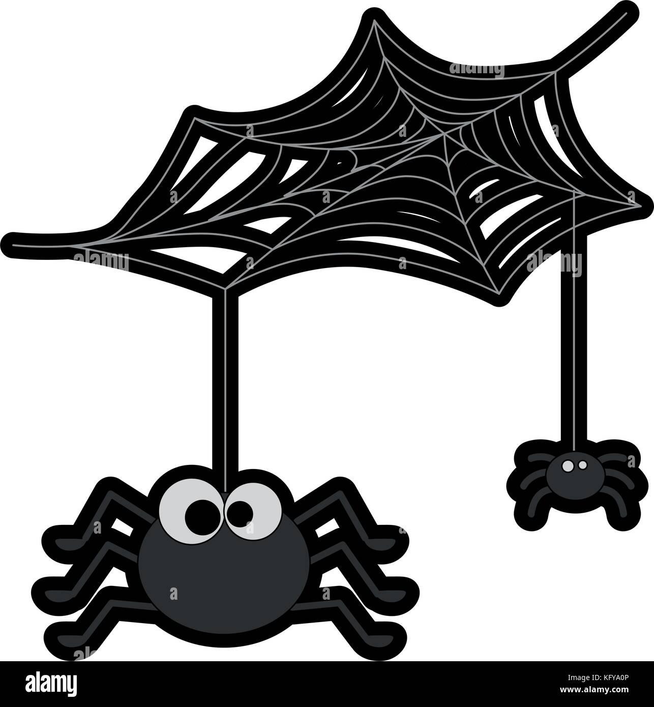 Carino con ragni ragnatela decorazione di halloween illustrazione