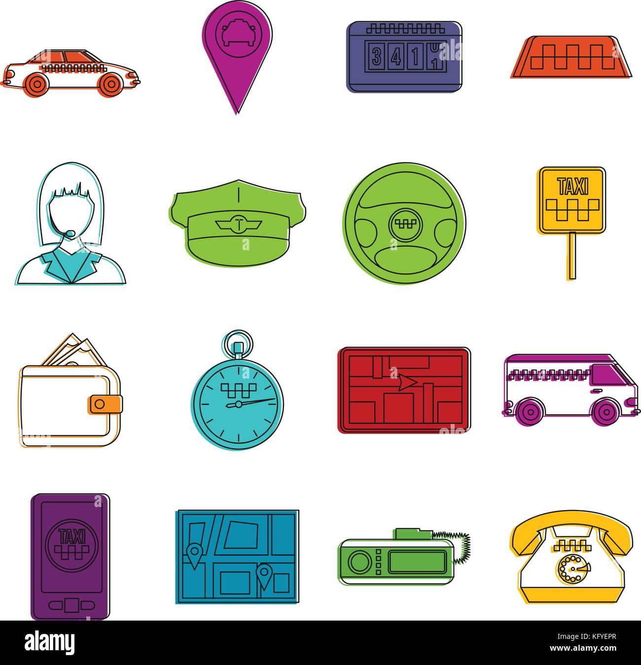 Icone di taxi doodle impostato Illustrazione Vettoriale