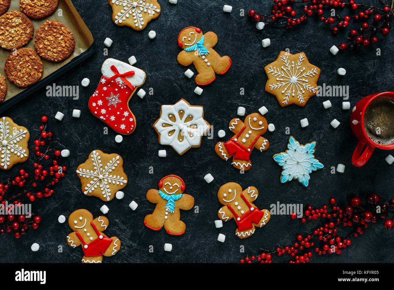 Gingerbreads natale e caffè Immagini Stock