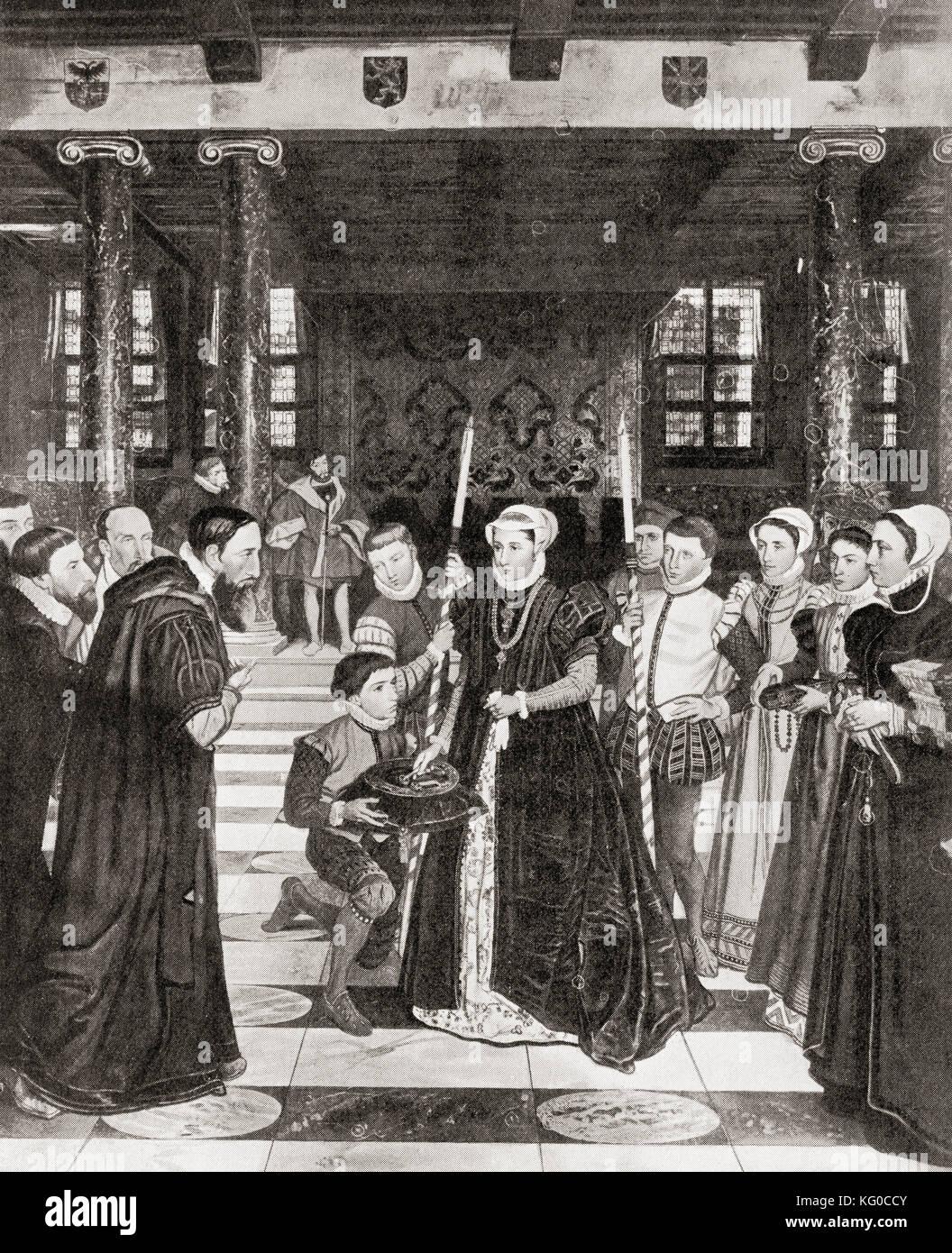 Margherita di parma date le chiavi di Anversa, Belgio, 1559. Margherita di Parma, 1522 - 1586. governatore dei Paesi Immagini Stock