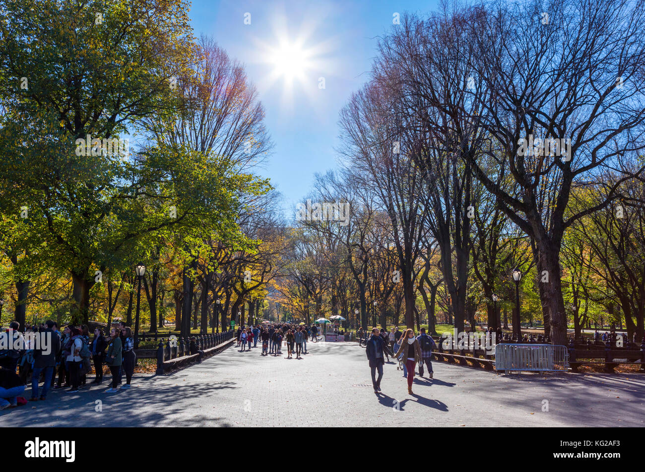 Il Mall, al Central Park di New York City, NY, STATI UNITI D'AMERICA Immagini Stock