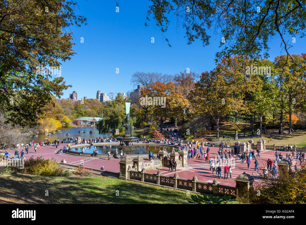 Fontana di Bethesda, al Central Park di New York City, NY, STATI UNITI D'AMERICA Immagini Stock