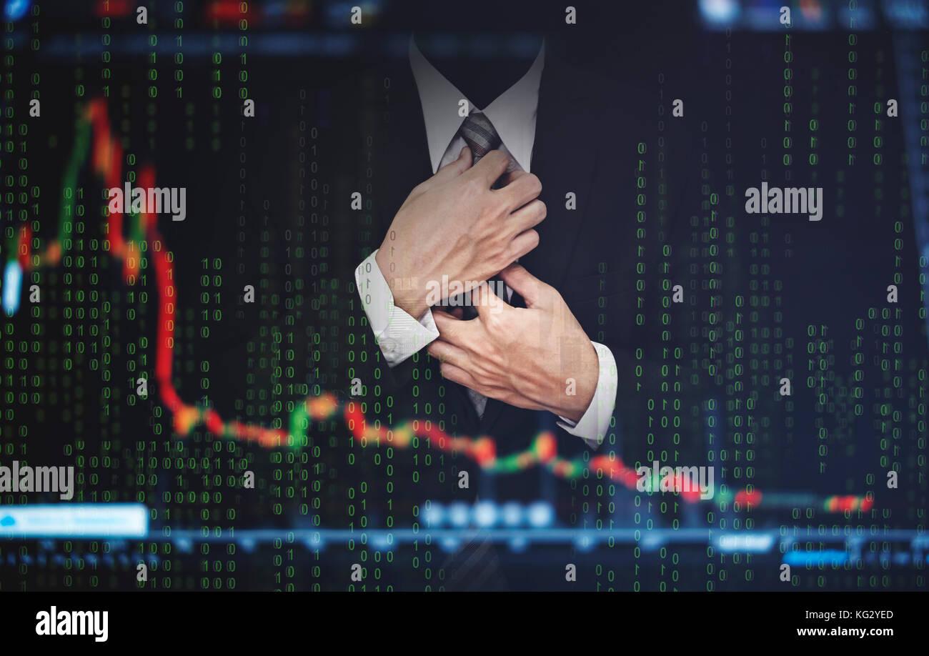 La doppia esposizione imprenditore, con stock exchange grafico. lo sviluppo e la crescita nel mercato azionario Immagini Stock