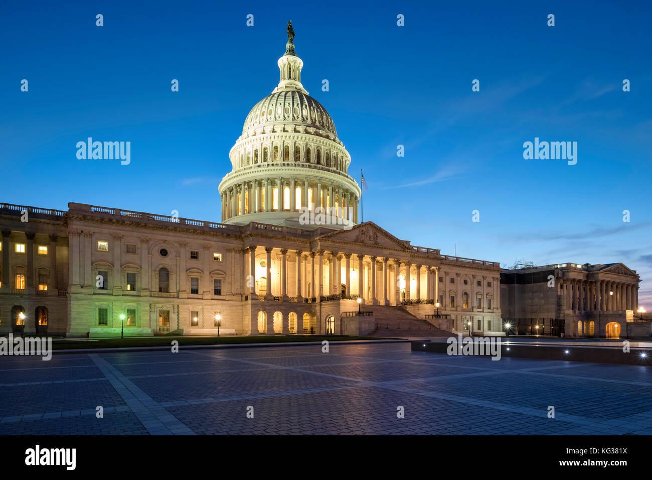 United States Capitol Building di notte, Capitol Hill, Washington DC, Stati Uniti d'America Immagini Stock