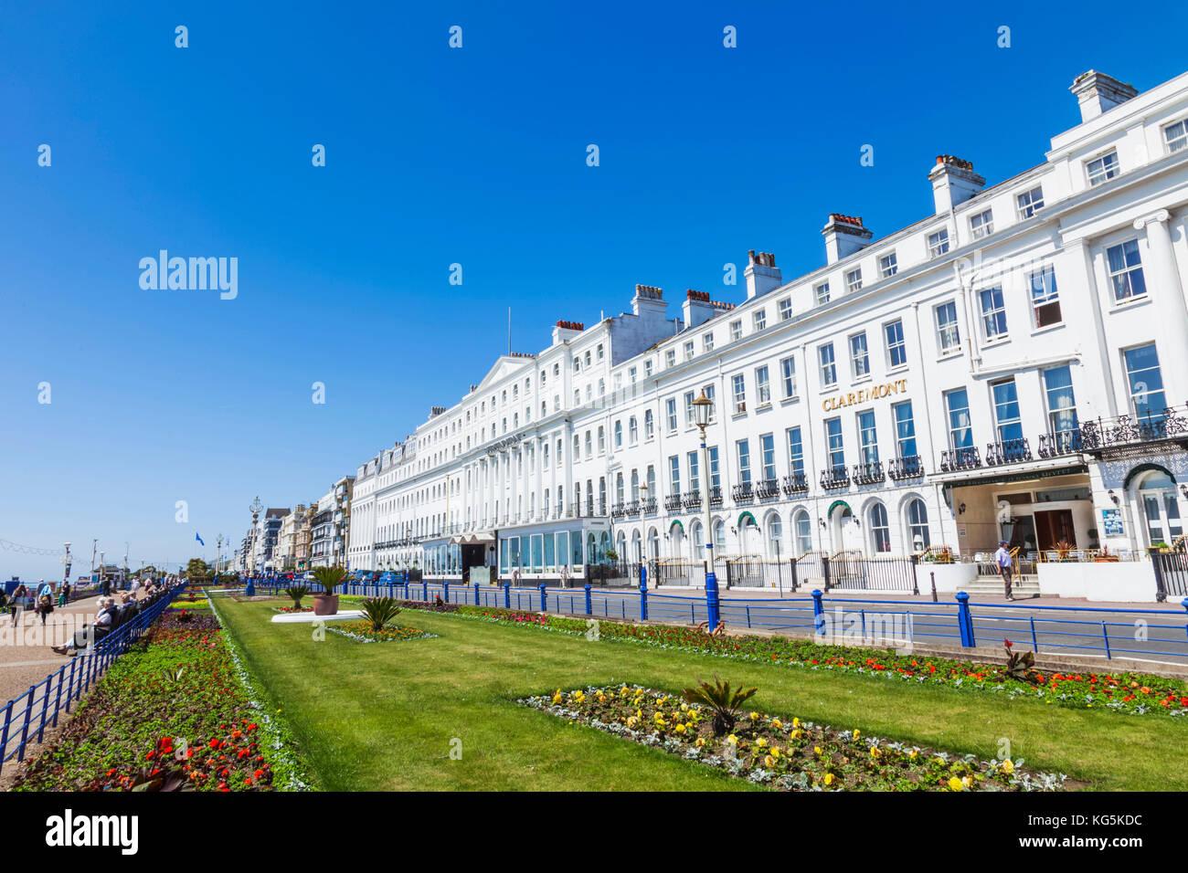 Inghilterra, East Sussex, Eastbourne, lungomare giardini e gli alberghi Immagini Stock