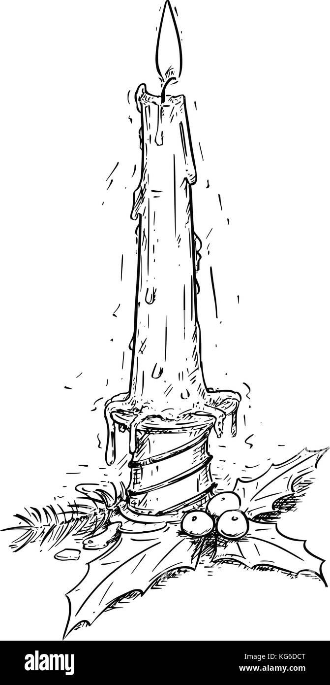 Disegno A Mano Illustrazione Vettoriale Di Natale Candela