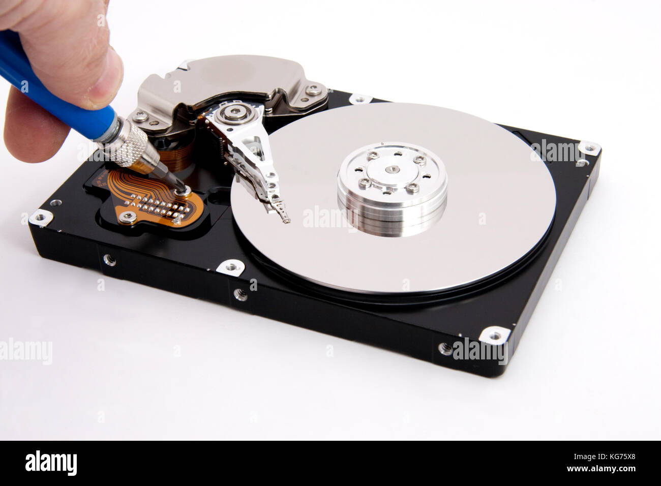 Aprire computer difettoso del disco rigido Immagini Stock