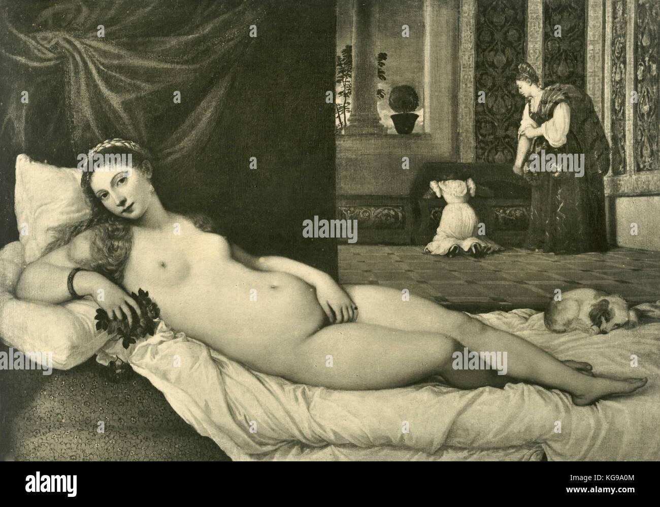 Di Venere o l'amante del duca di Urbino, dipinta da Tiziano Immagini Stock