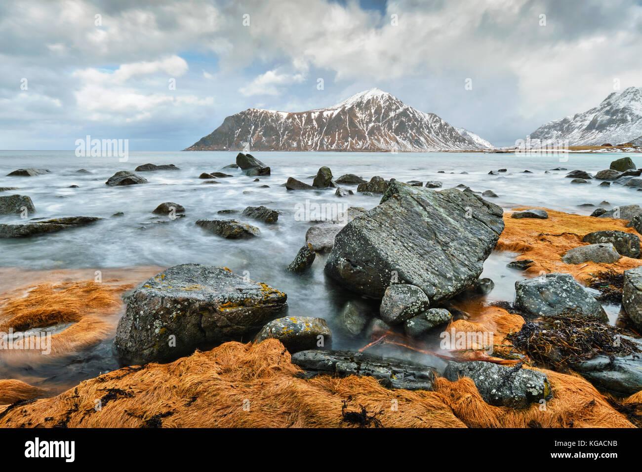 Costa rocciosa di fjord in Norvegia Immagini Stock