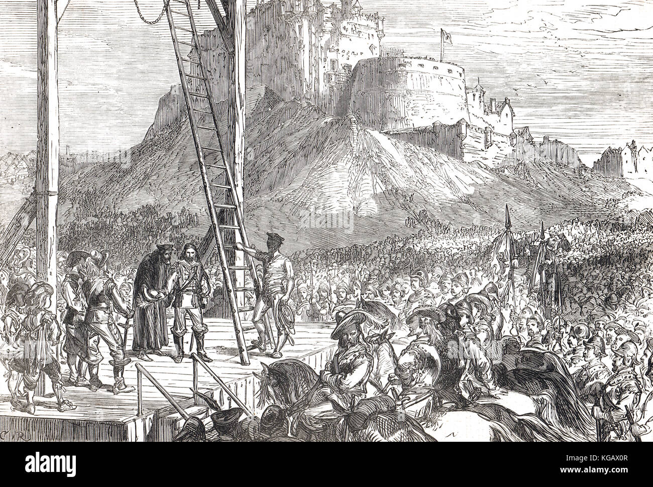 Esecuzione di James Graham, primo marchese di Montrose, 21 maggio 1650, Edimburgo, Scozia, guerra civile inglese Immagini Stock