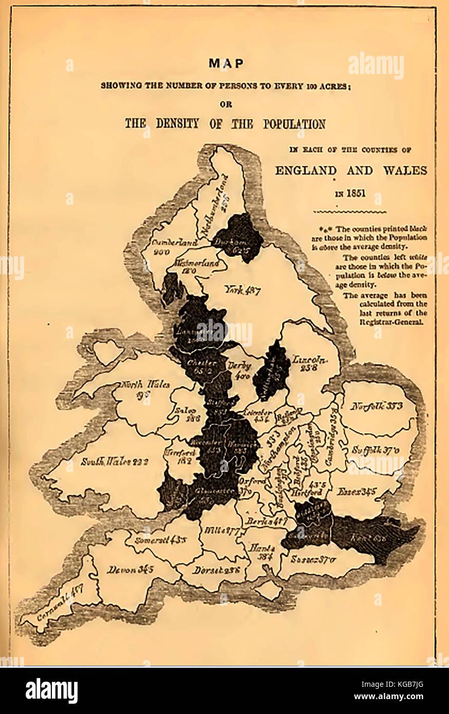 Una mappa della popolazione della Gran Bretagna per il 1851 mostra densità di abitazione di contea in Inghilterra Immagini Stock