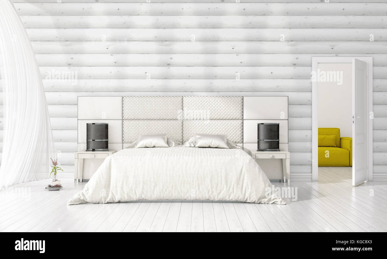 Interior design moderno della camera da letto in vogue con ...