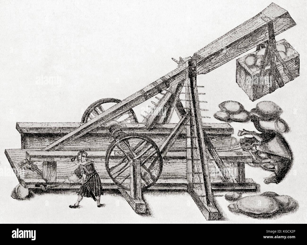 Una catapulta utilizzato dall'esercito di maximilan i. questa macchina in legno è stato utilizzato per Immagini Stock