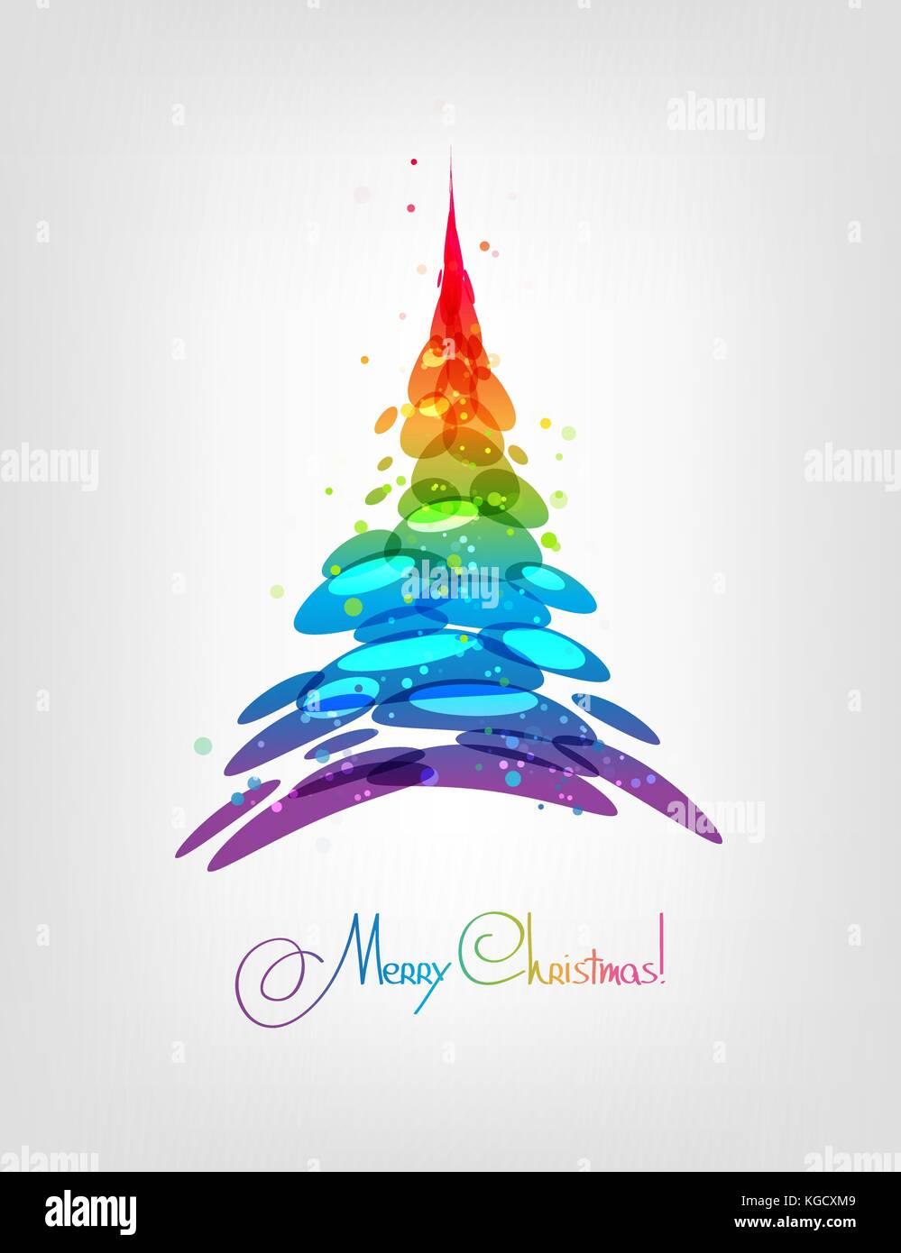 Immagini Stilizzate Di Natale.Albero Di Natale Astratto Carta Multicolore Illustrazione