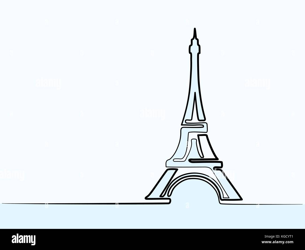 Parigi Torre Eiffel Icona Continua Sottile Disegno Per Web