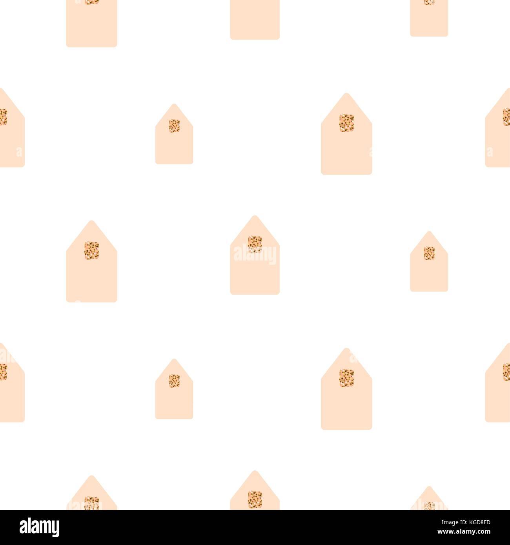 Case semplici forme luce rosa su sfondo bianco. Immagini Stock