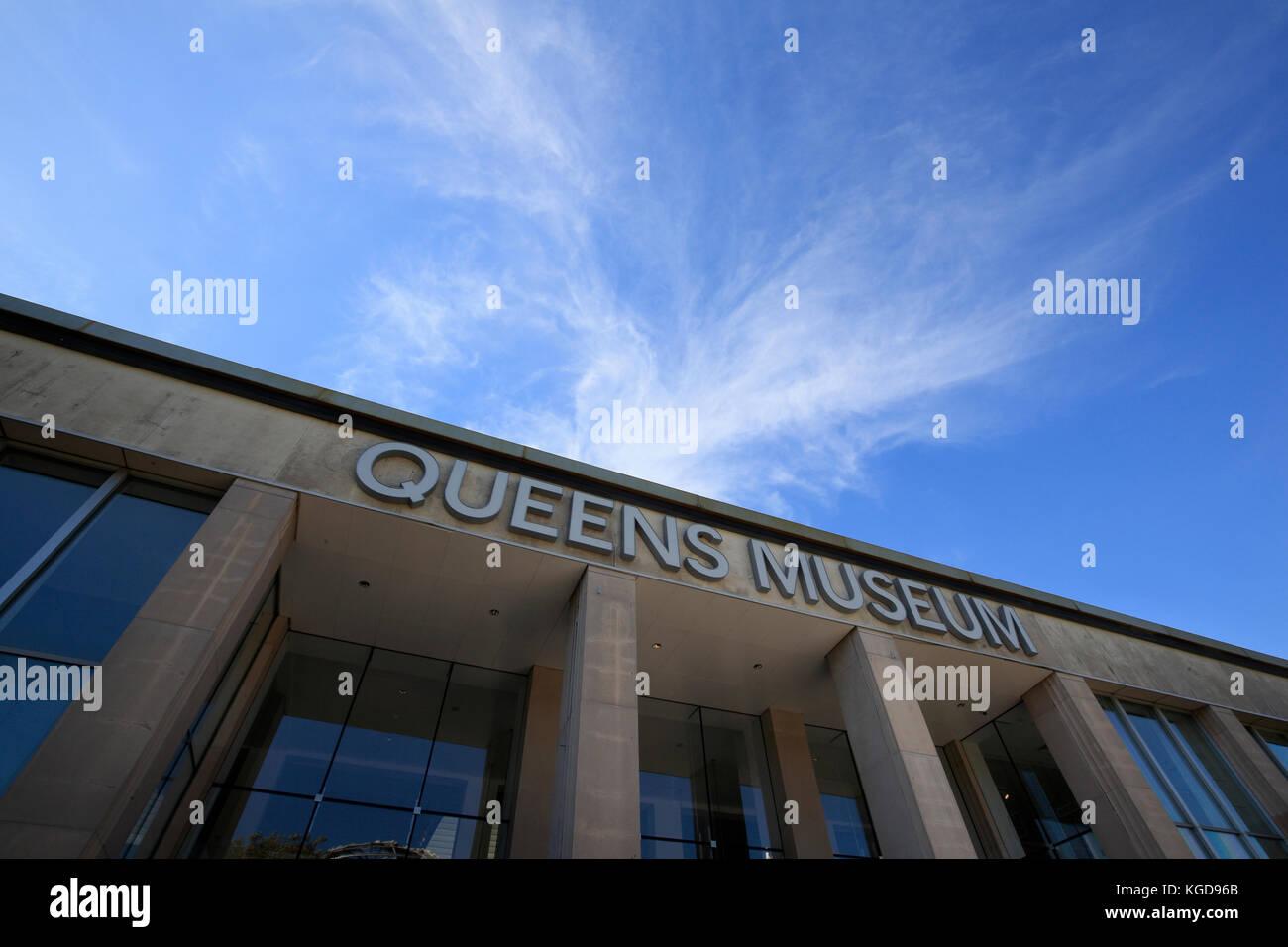 Esterno del Queens Museum di Flushing Meadows Corona Park, New York City Immagini Stock