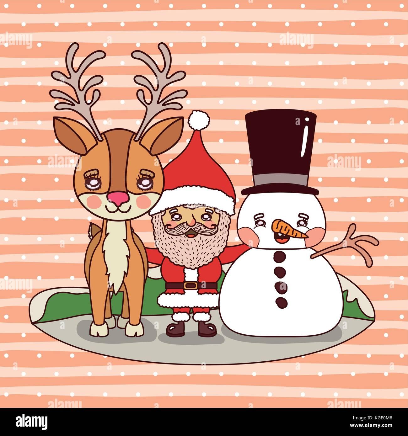 Babbo Natale Con Le Renne.Scheda Di Natale Con Le Renne Di Babbo Natale E Il Pupazzo Di Neve