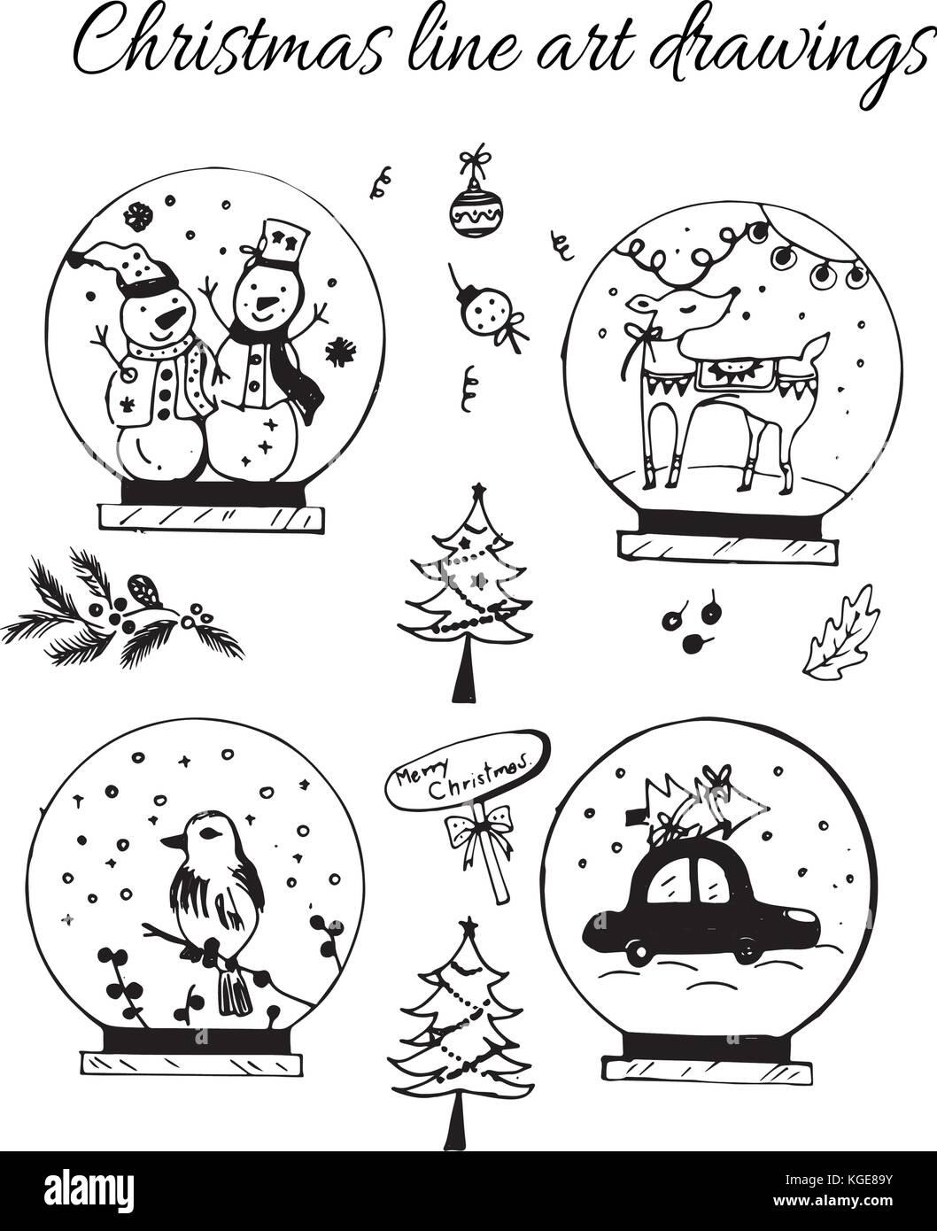 Immagini Di Natale In Bianco E Nero.Disegnata A Mano Doodle Vettore Linea Di Natale Arte
