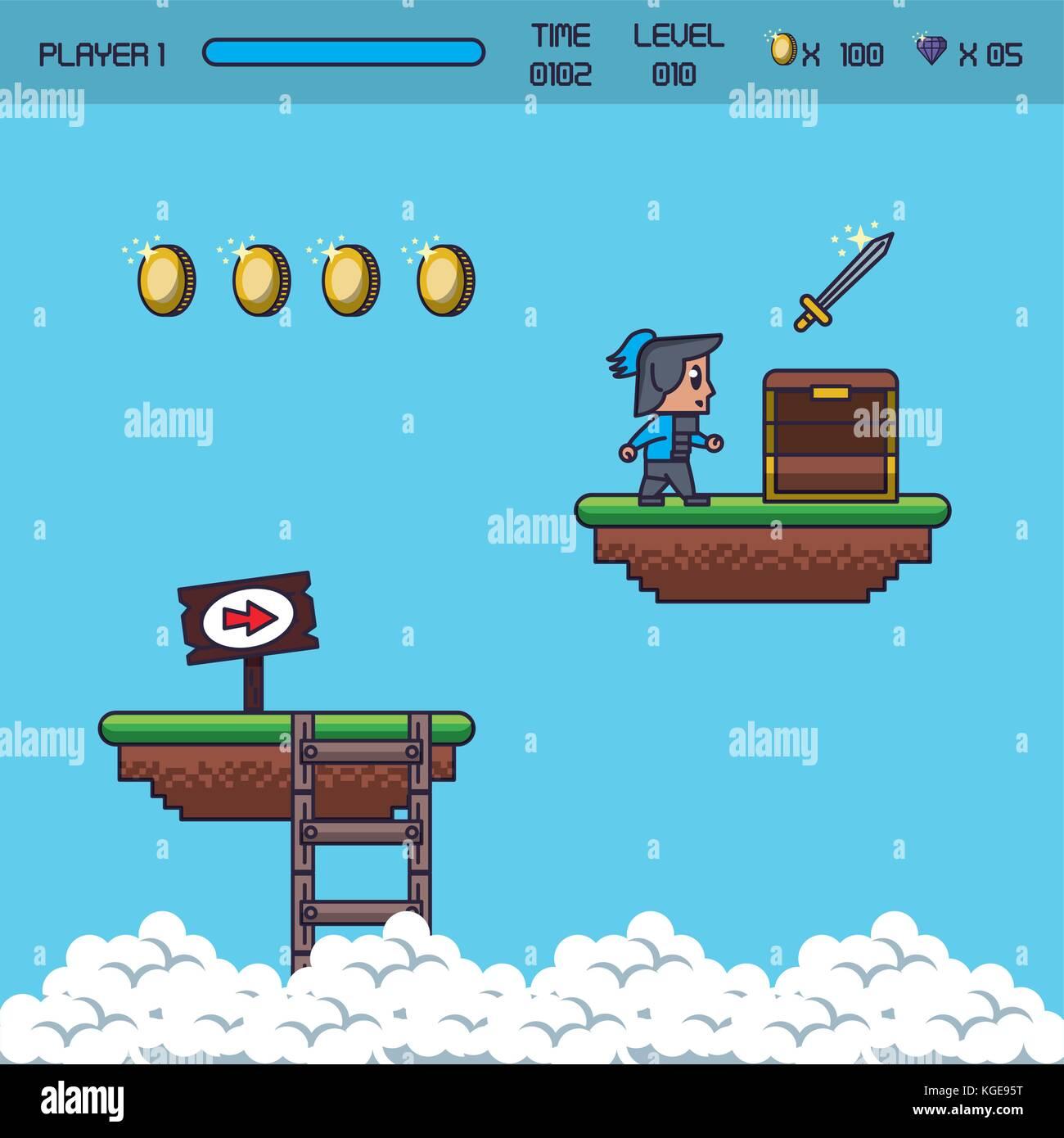Pixel uno scenario di gioco Illustrazione Vettoriale