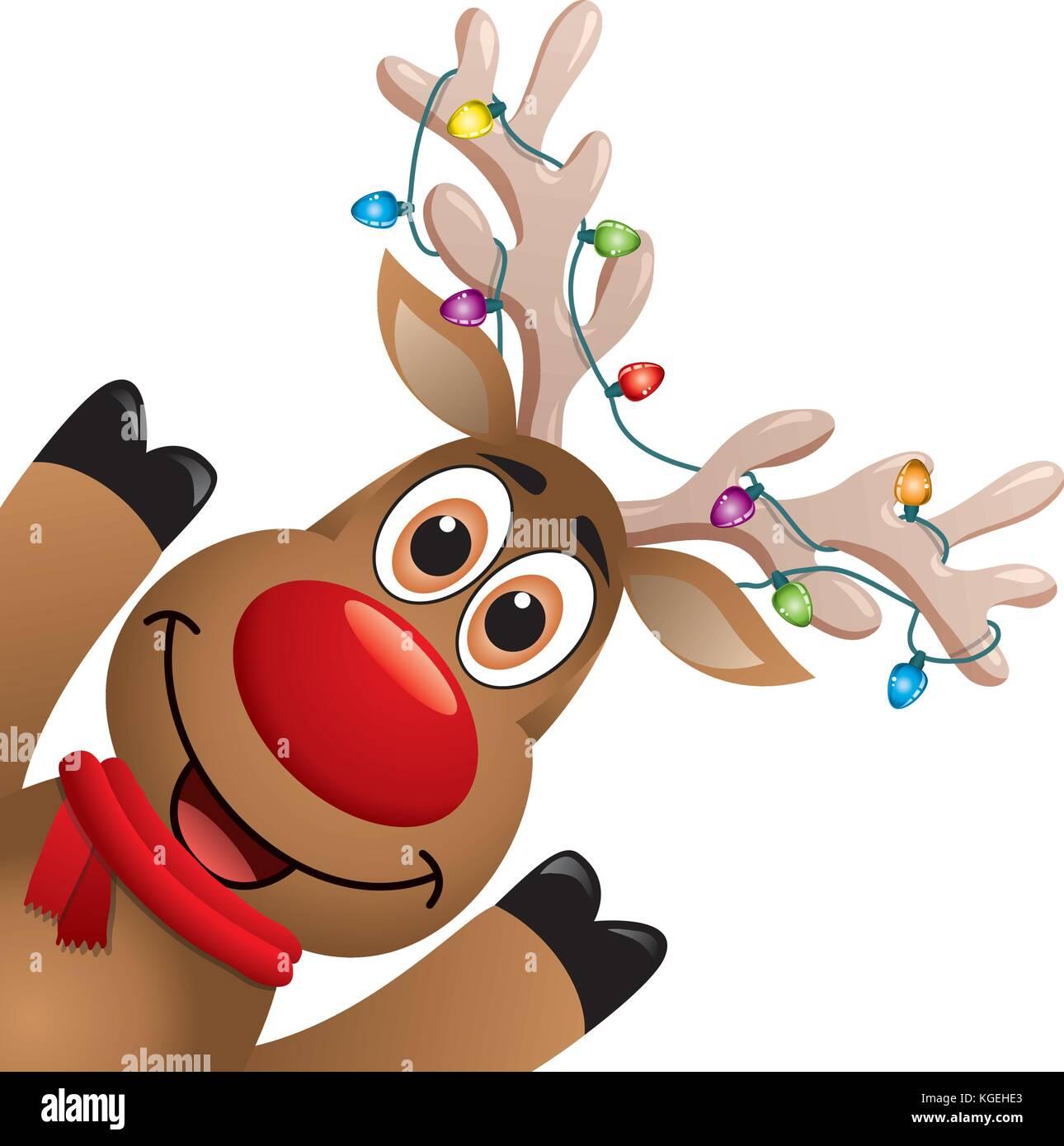 Disegni Di Natale Vettoriali.Vettore Di Disegno Di Natale Di Divertenti Dal Naso Rosso Renna
