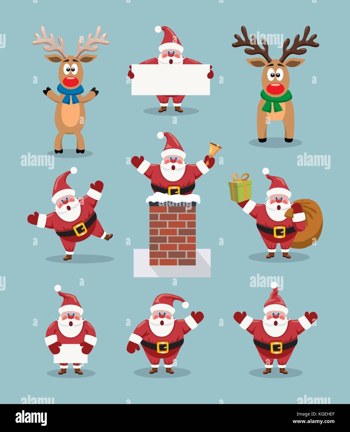 Rudolph La Renna Di Babbo Natale.Vettore Collezione Di Belle Vignette Di Babbo Natale E Dal Naso
