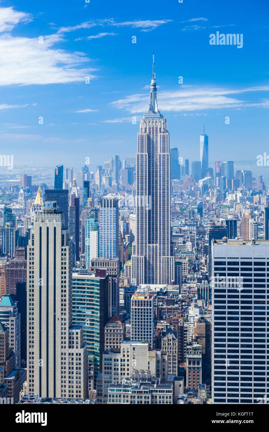 Skyline di Manhattan, New York skyline, Empire State Building di New York City, Stati Uniti d'America, Nord Immagini Stock