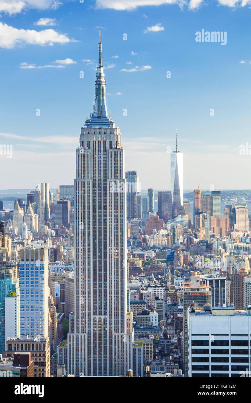 Stati Uniti New York new york New York skyline skyline di manhattan Empire State building mahattan midtown new york city stato di New York Stati Uniti d'America Foto Stock
