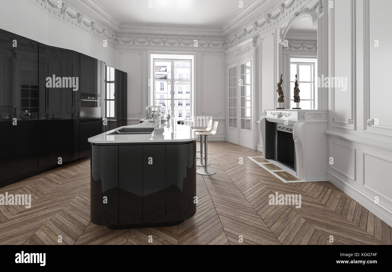 Isola della cucina in stile spazioso e luminoso appartamento con ...