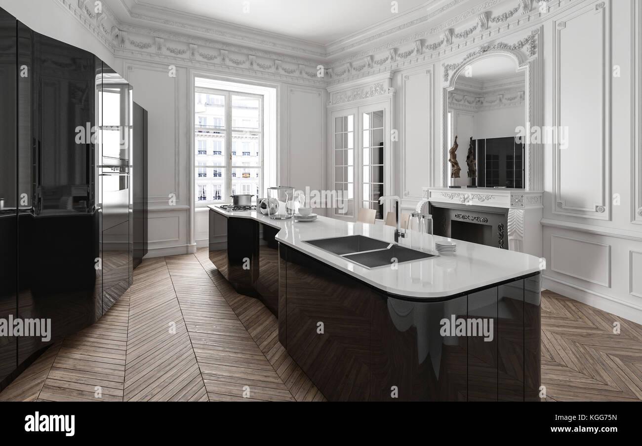 Camino In Cucina Moderna.Classe Elegante In Bianco E Nero La Cucina Moderna Con