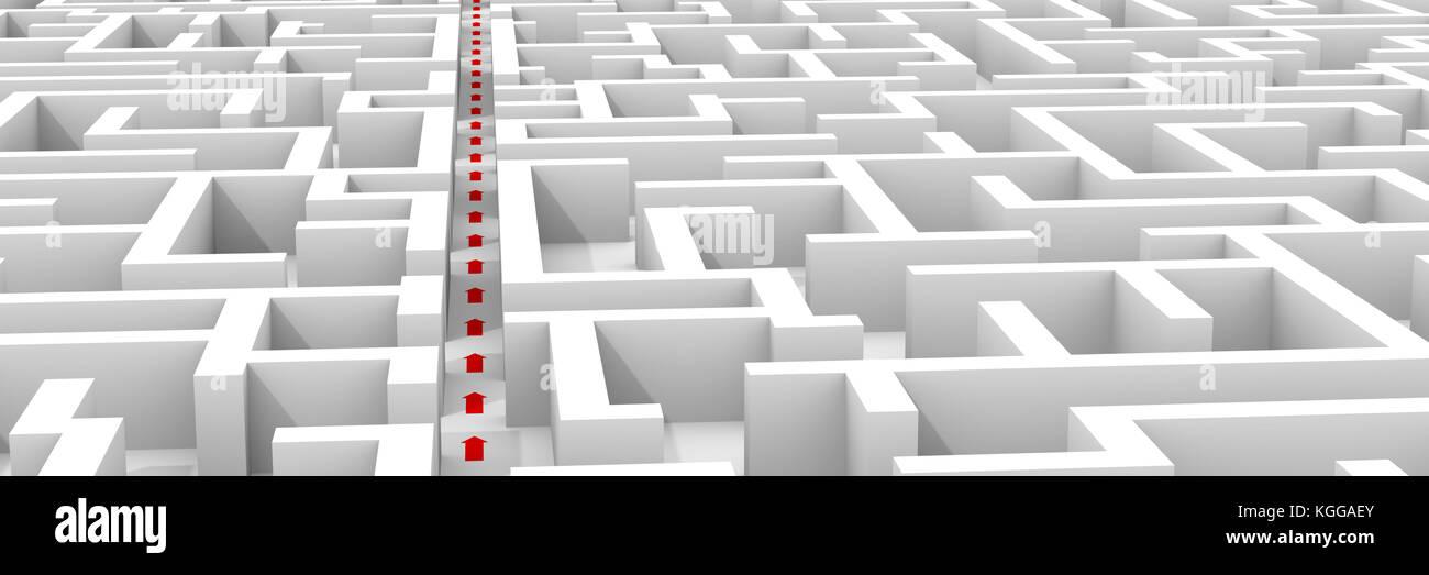 Bianca enorme struttura a labirinto, rosso le frecce che mostrano la scorciatoia attraverso il labirinto (3d'illustrazione, Immagini Stock