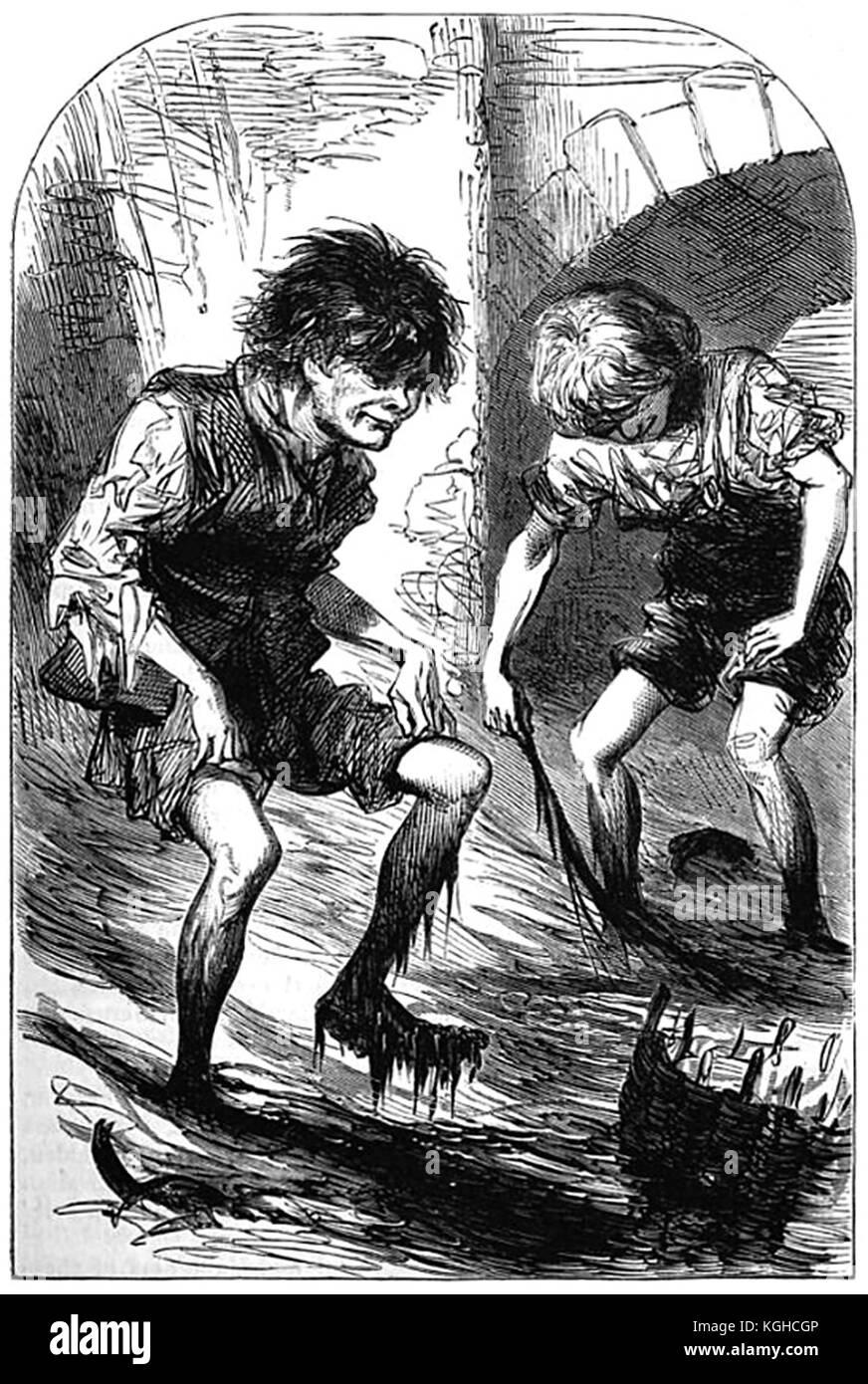 Mudlarks di Londra nel periodo Vittoriano Immagini Stock
