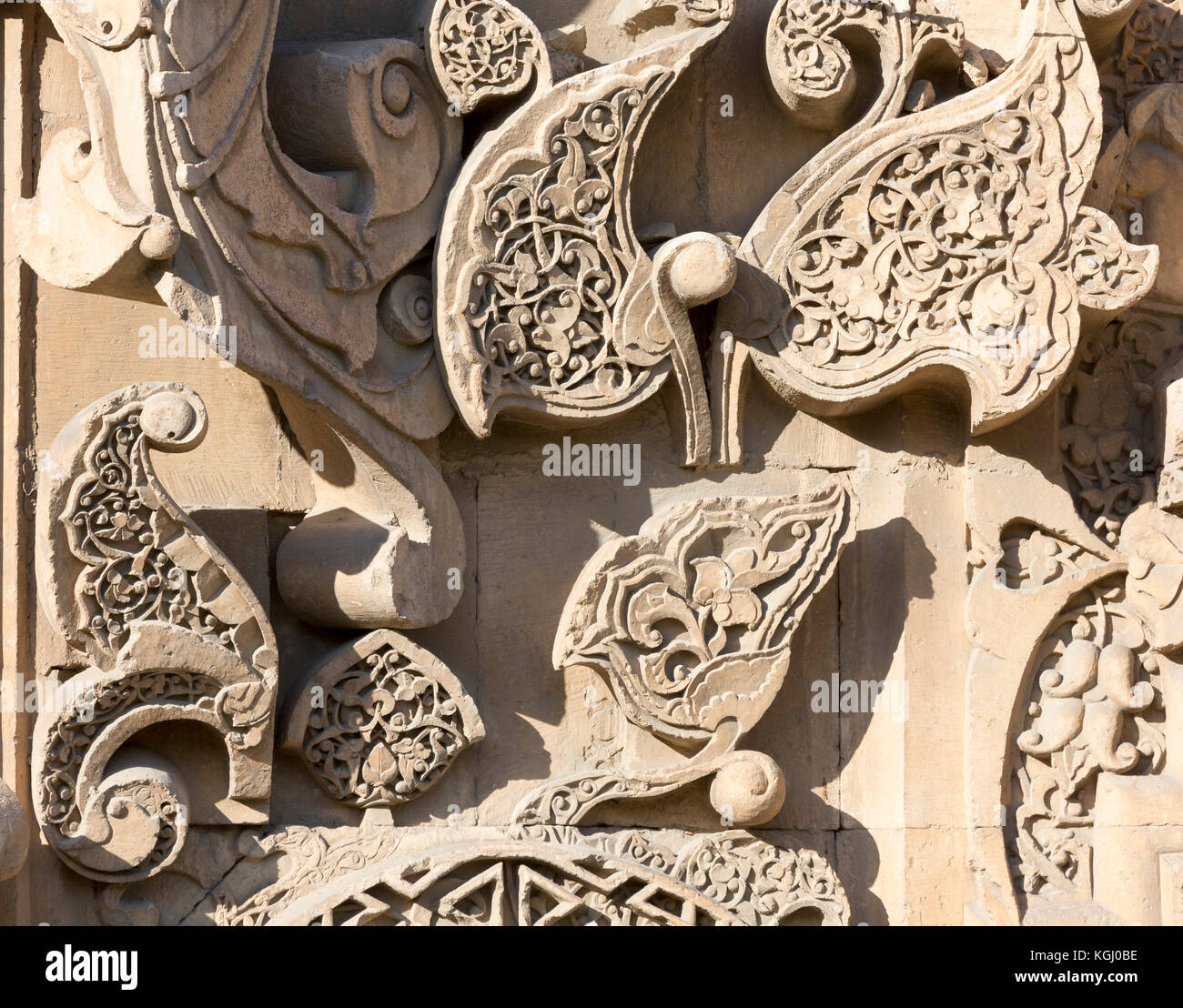 Dettaglio della scultura in pietra sulla facciata di ingresso di Divrigi Grande Moschea, Turchia Immagini Stock