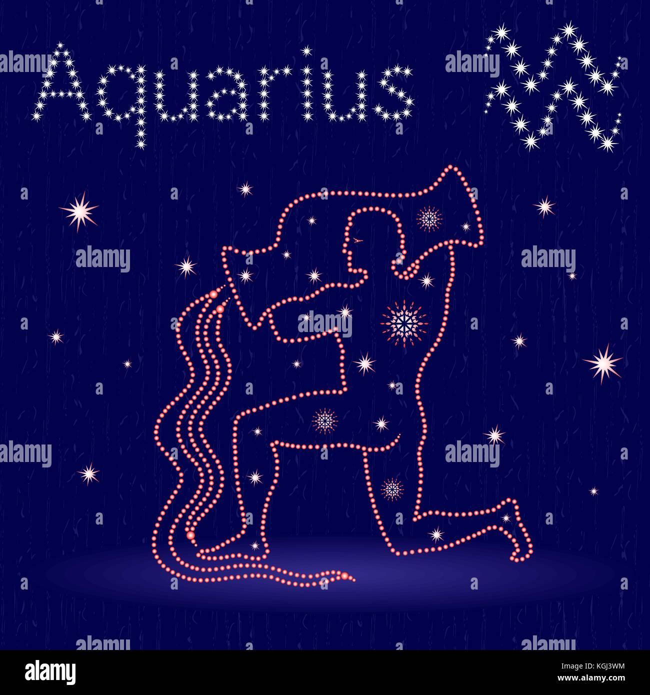 Segno Zodiacale Acquario Sul Cielo Stellato Disegnati A Mano