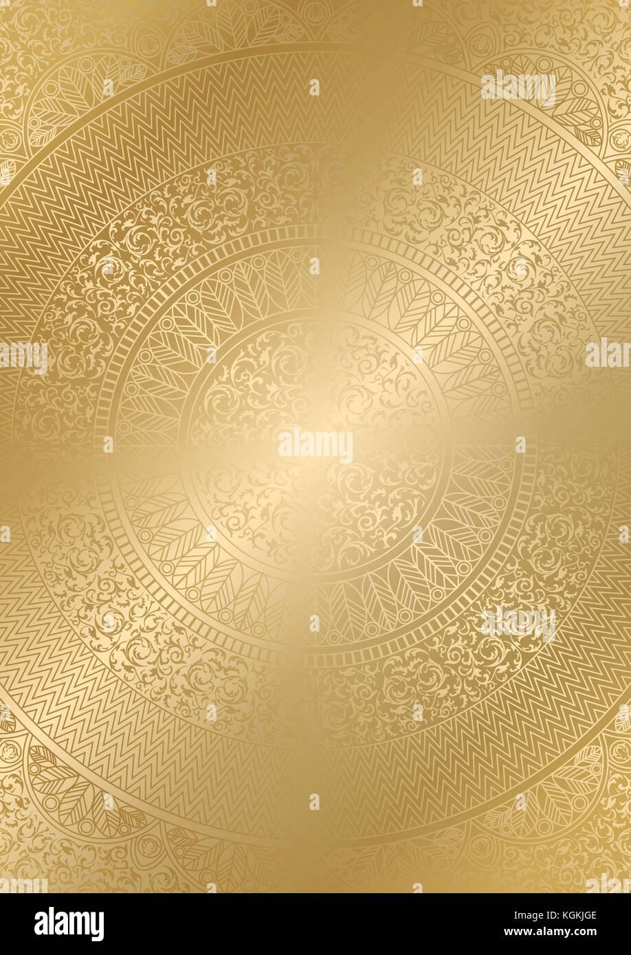 Golden round motivo floreale colore sfumatura. vintage cover Design modello. vettore poster mandala morbido sfondo Immagini Stock