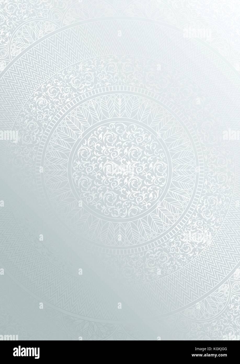 Silver round motivo floreale colore sfumatura. vintage cover Design modello. vettore poster mandala morbido sfondo Immagini Stock