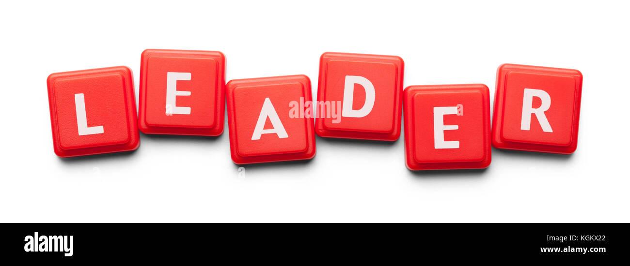 Leader scritto con piastrelle di legno isolato su uno sfondo bianco. Immagini Stock