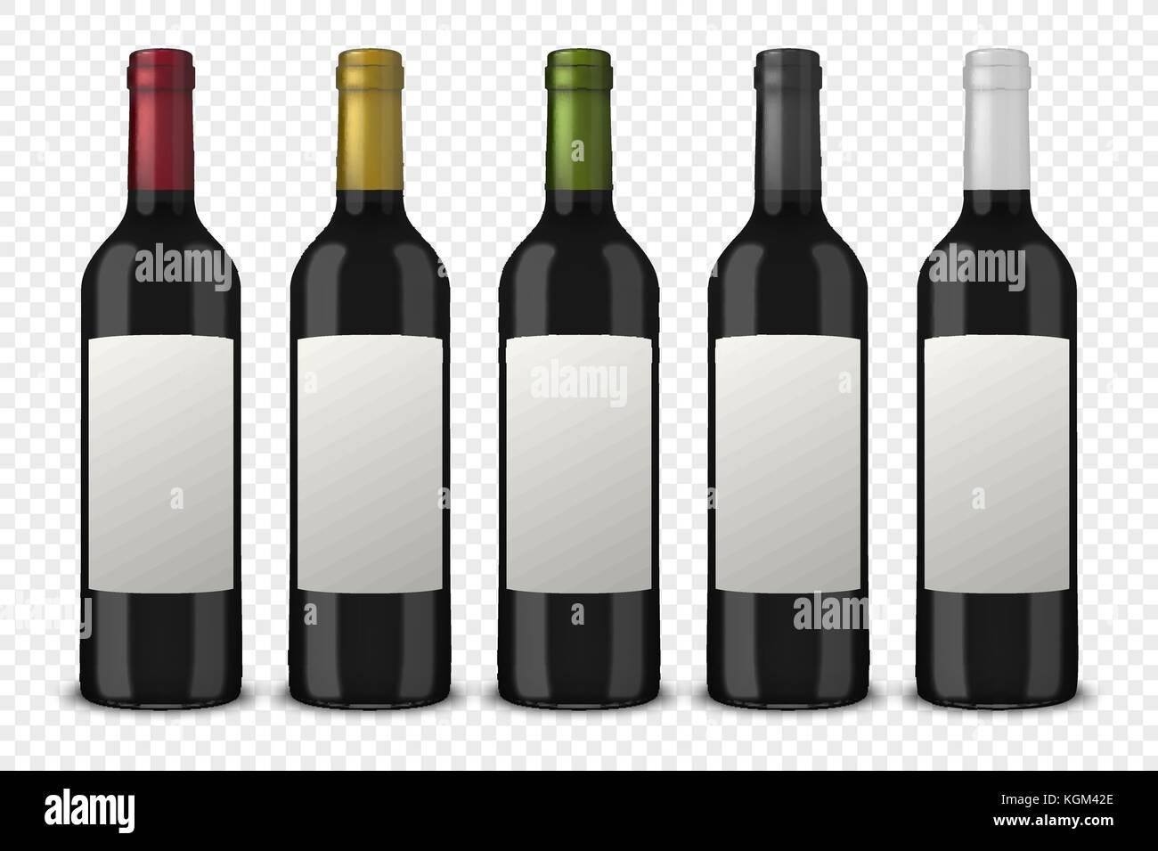 Set 5 Vettore Realistico Nero A Bottiglie Di Vino Senza Etichette