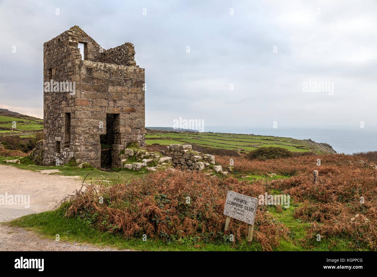 Carn galver casa motore, Cornwall, Regno Unito Immagini Stock