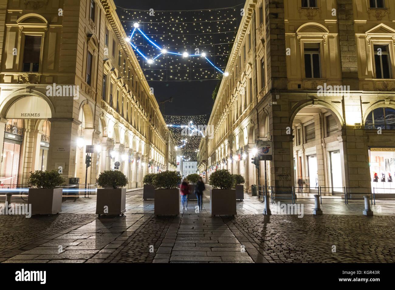 Luci d'Artista a Torino. Via Roma. Immagini Stock