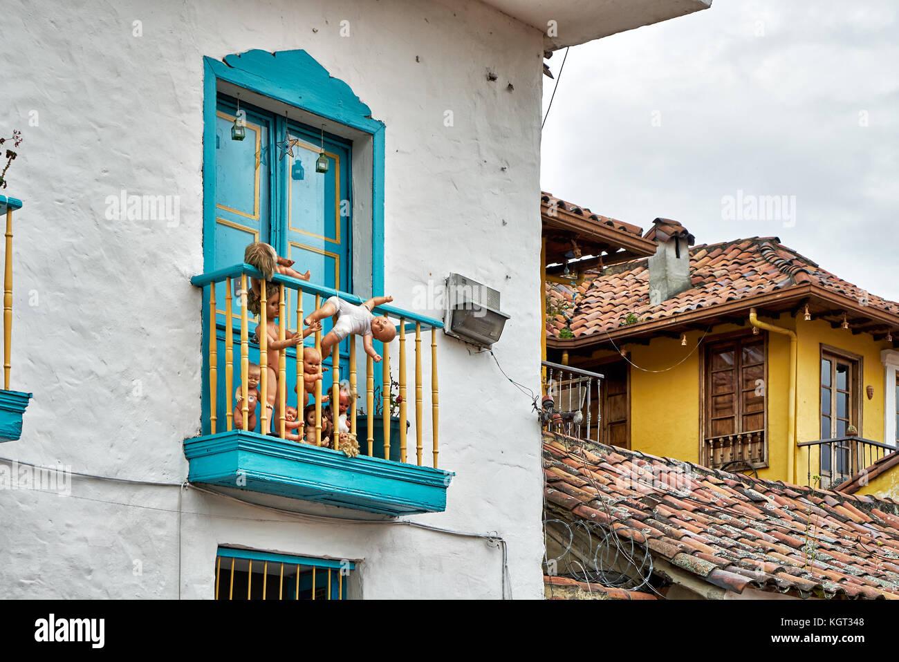 Typisches Gebaeude im Stadtteil La Candelaria, Bogotà, Kolumbien, Suedamerika |tipico edificio in Candelaria, Immagini Stock