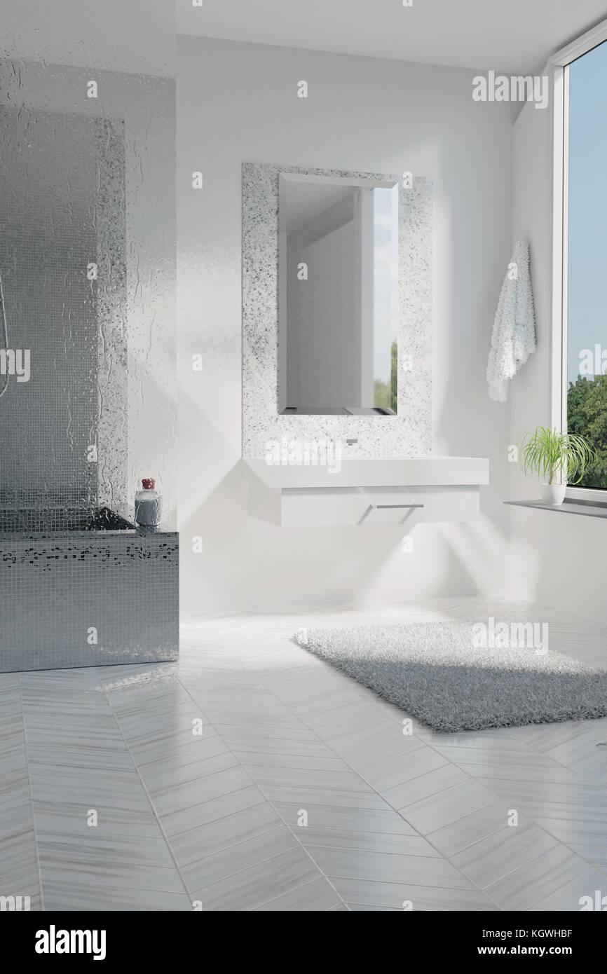 Bagno Con Mosaico Bianco 3d rendering del bianco di lusso bagno con piastrelle a